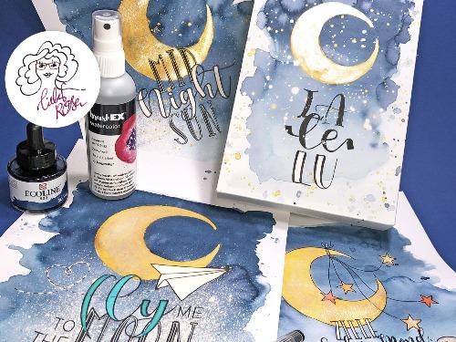 »Mondbilder« Handlettering & Watercolor - auf Triviar